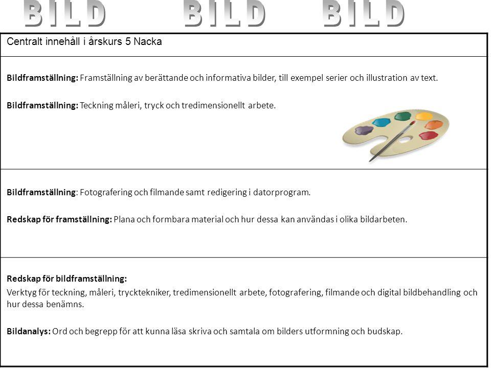BILD BILD BILD Centralt innehåll i årskurs 5 Nacka