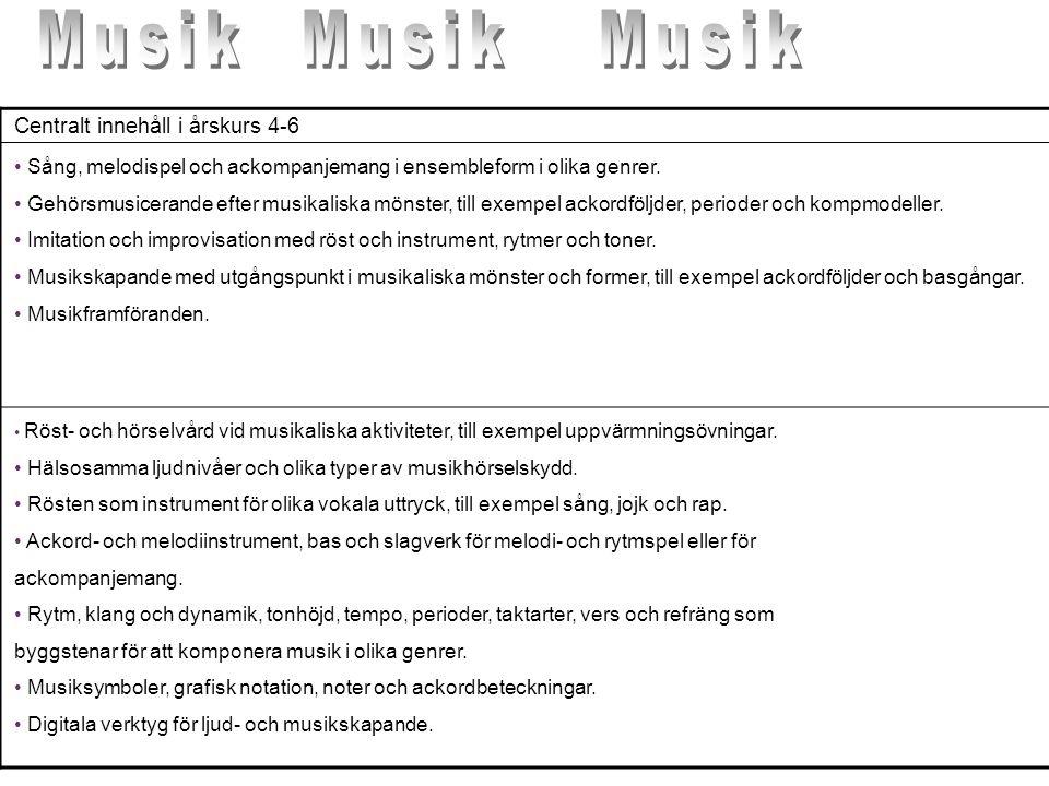 Musik Musik Musik Centralt innehåll i årskurs 4-6