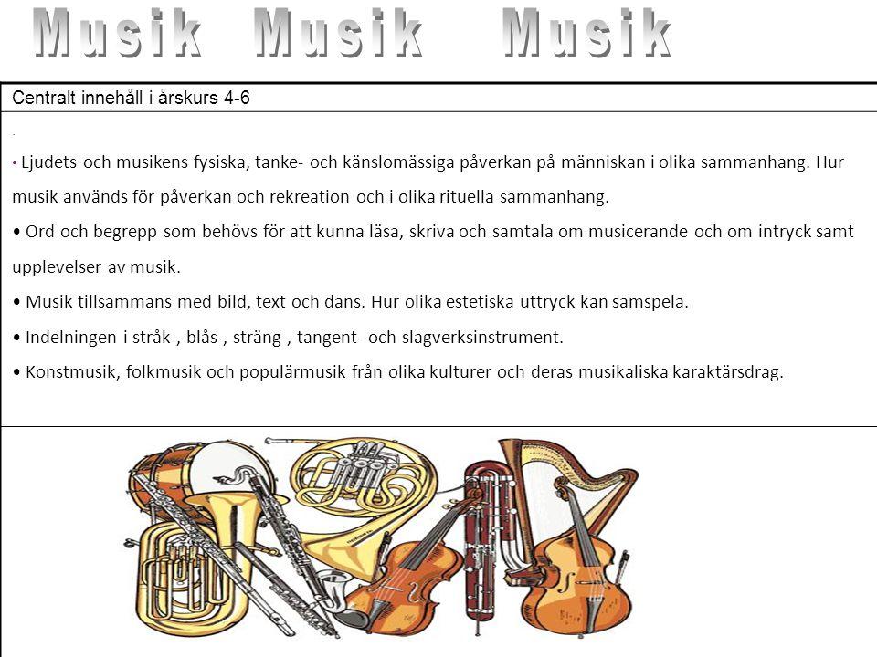 Musik Musik. Musik. Centralt innehåll i årskurs 4-6. .