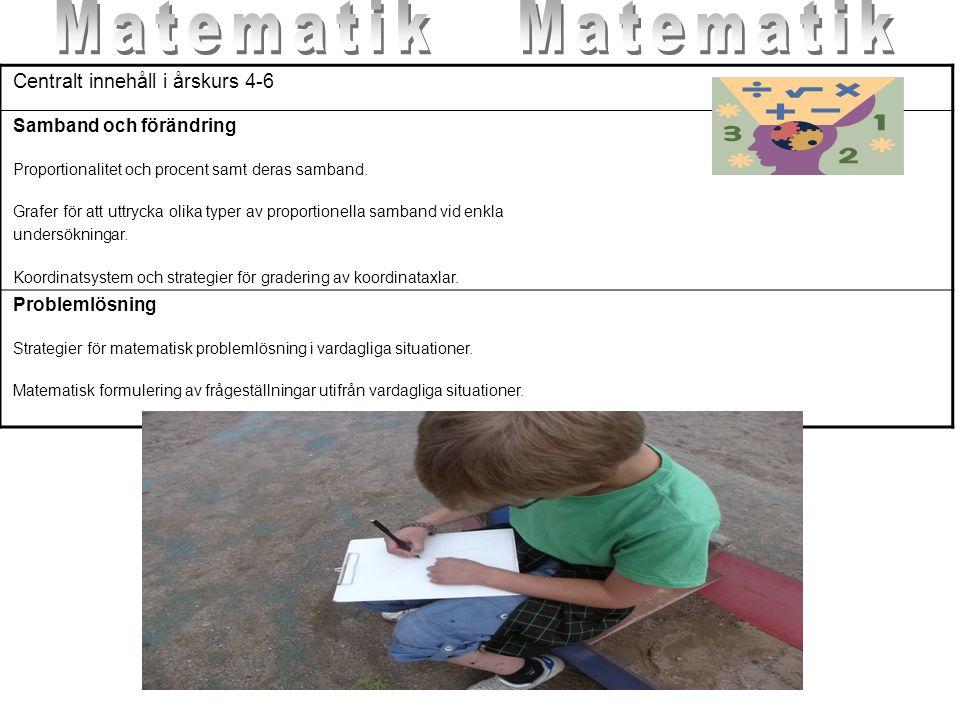 Matematik Matematik Centralt innehåll i årskurs 4-6
