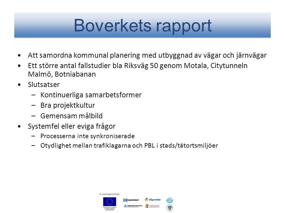 Boverkets rapport Att samordna kommunal planering med utbyggnad av vägar och järnvägar.