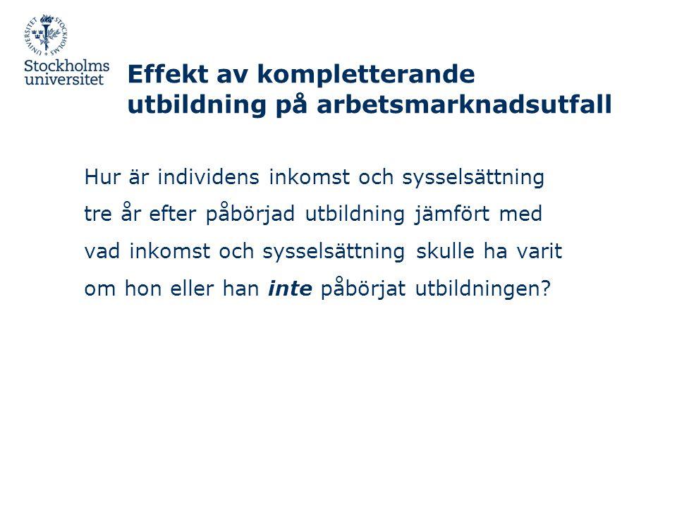 Effekt av kompletterande utbildning på arbetsmarknadsutfall
