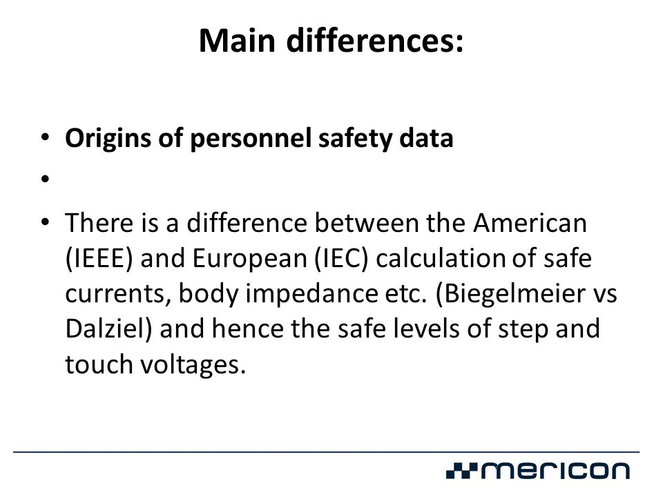 Main differences: Origins of personnel safety data