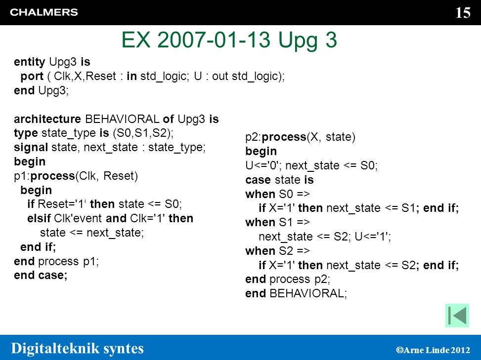 EX 2007-01-13 Upg 3 entity Upg3 is. port ( Clk,X,Reset : in std_logic; U : out std_logic); end Upg3;