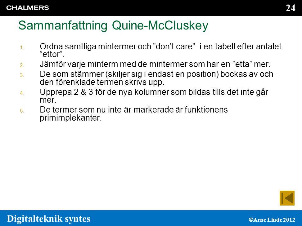 Sammanfattning Quine-McCluskey
