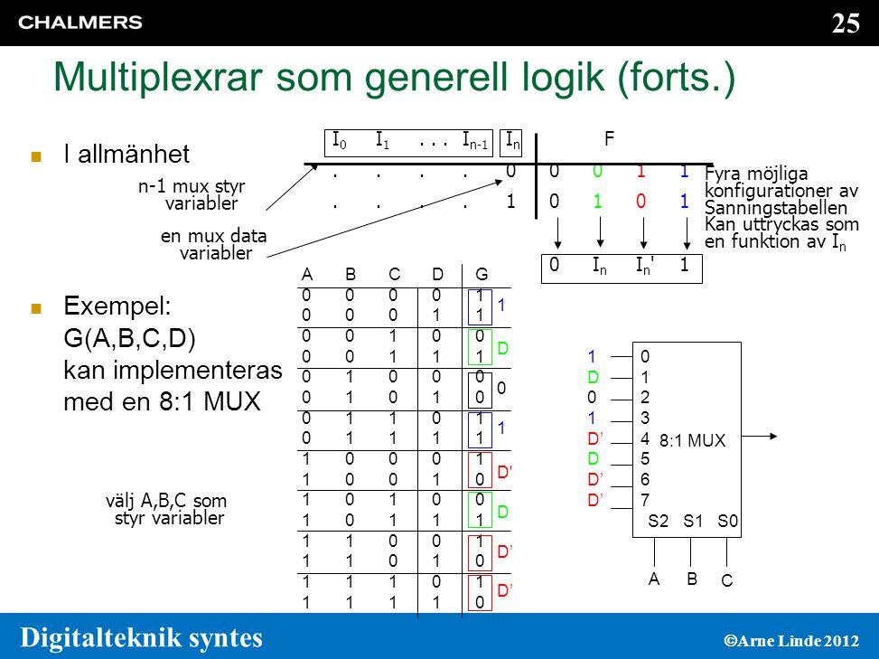 Multiplexrar som generell logik (forts.)