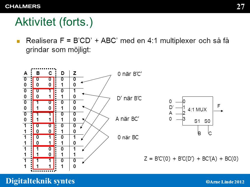 Aktivitet (forts.) Realisera F = B'CD' + ABC' med en 4:1 multiplexer och så få grindar som möjligt: