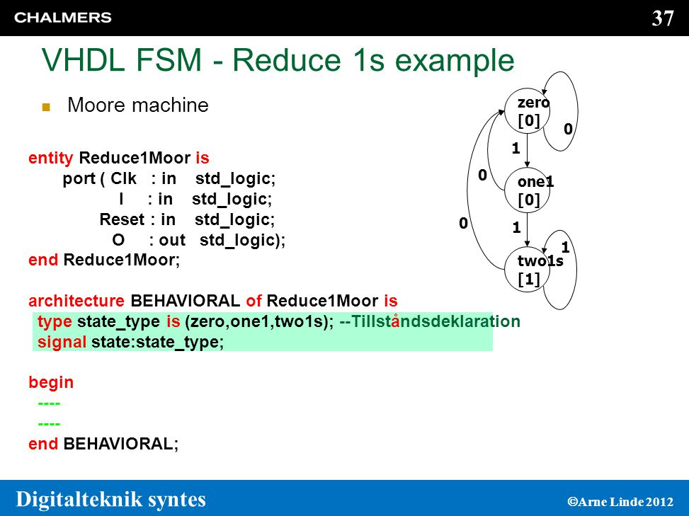VHDL FSM - Reduce 1s example