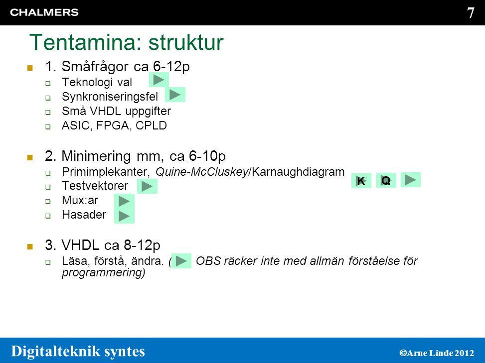 Tentamina: struktur 1. Småfrågor ca 6-12p 2. Minimering mm, ca 6-10p