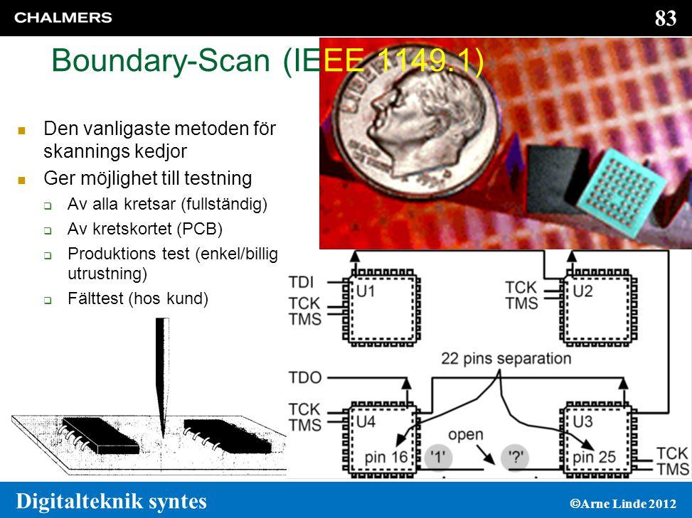 Boundary-Scan (IEEE 1149.1) Den vanligaste metoden för skannings kedjor. Ger möjlighet till testning.