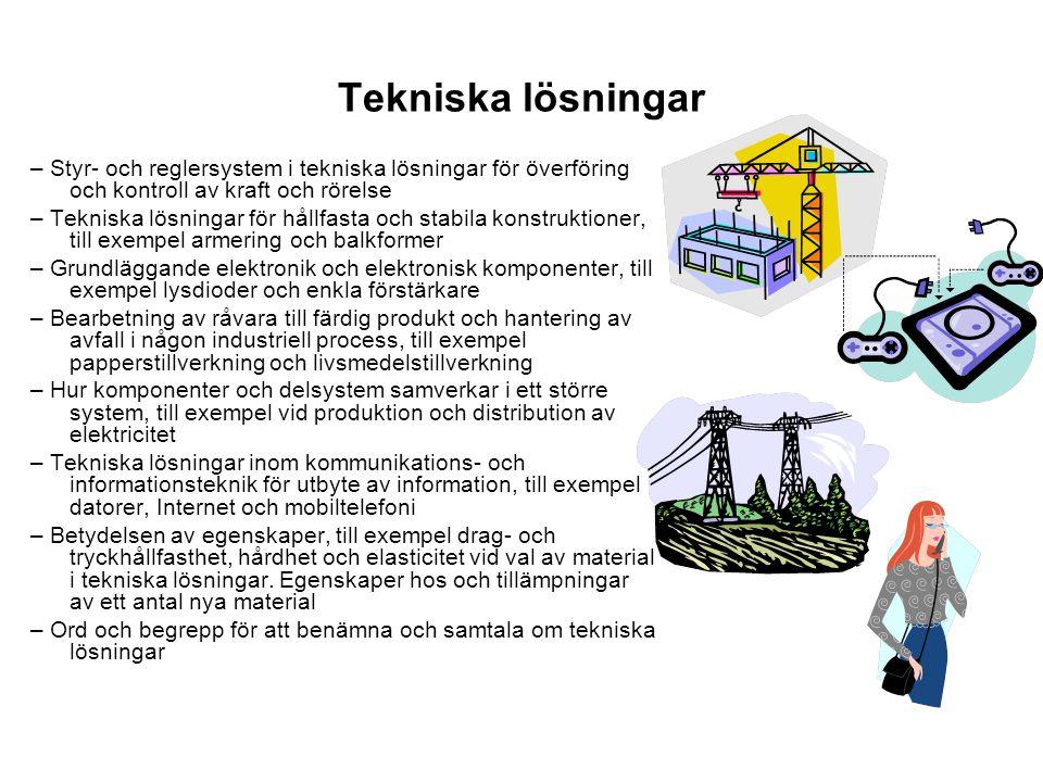 Tekniska lösningar – Styr- och reglersystem i tekniska lösningar för överföring och kontroll av kraft och rörelse.