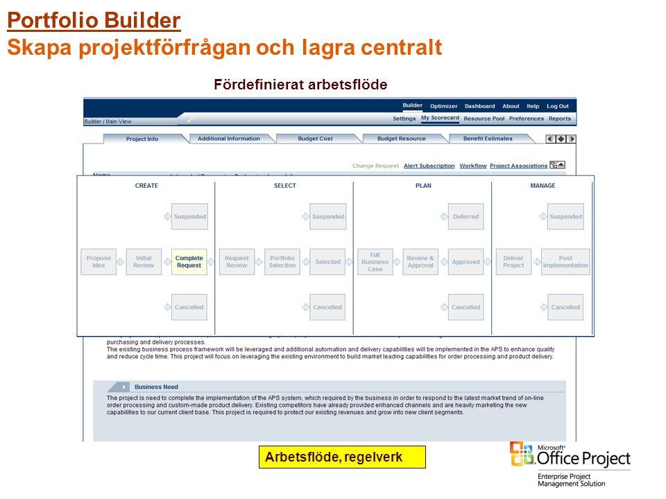 Portfolio Builder Skapa projektförfrågan och lagra centralt