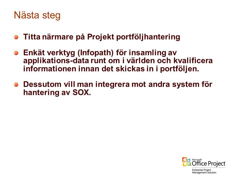 Nästa steg Titta närmare på Projekt portföljhantering