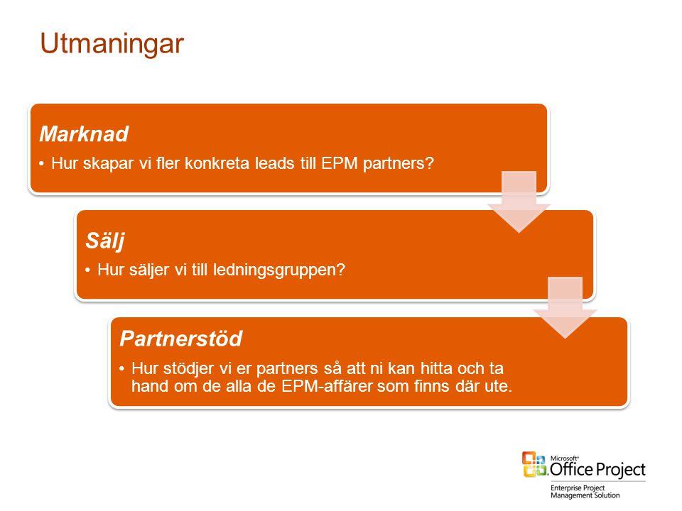 4/3/2017 1:29 PM Utmaningar. Marknad. Hur skapar vi fler konkreta leads till EPM partners Sälj.