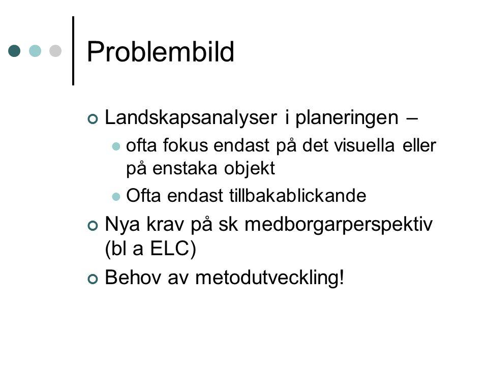 Problembild Landskapsanalyser i planeringen –