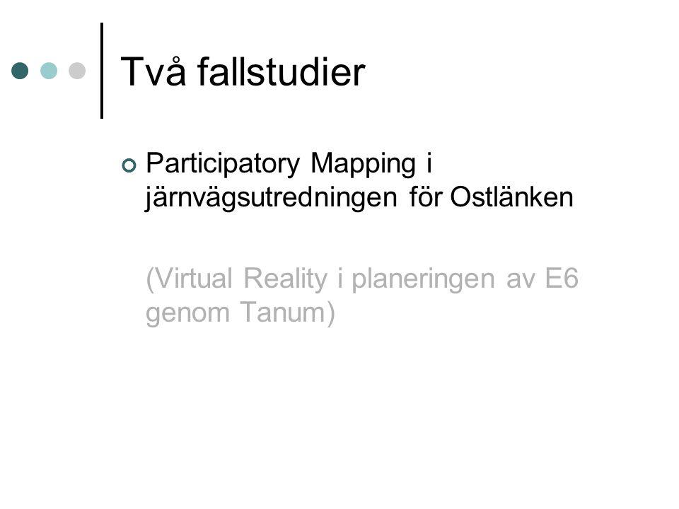 Två fallstudier Participatory Mapping i järnvägsutredningen för Ostlänken.