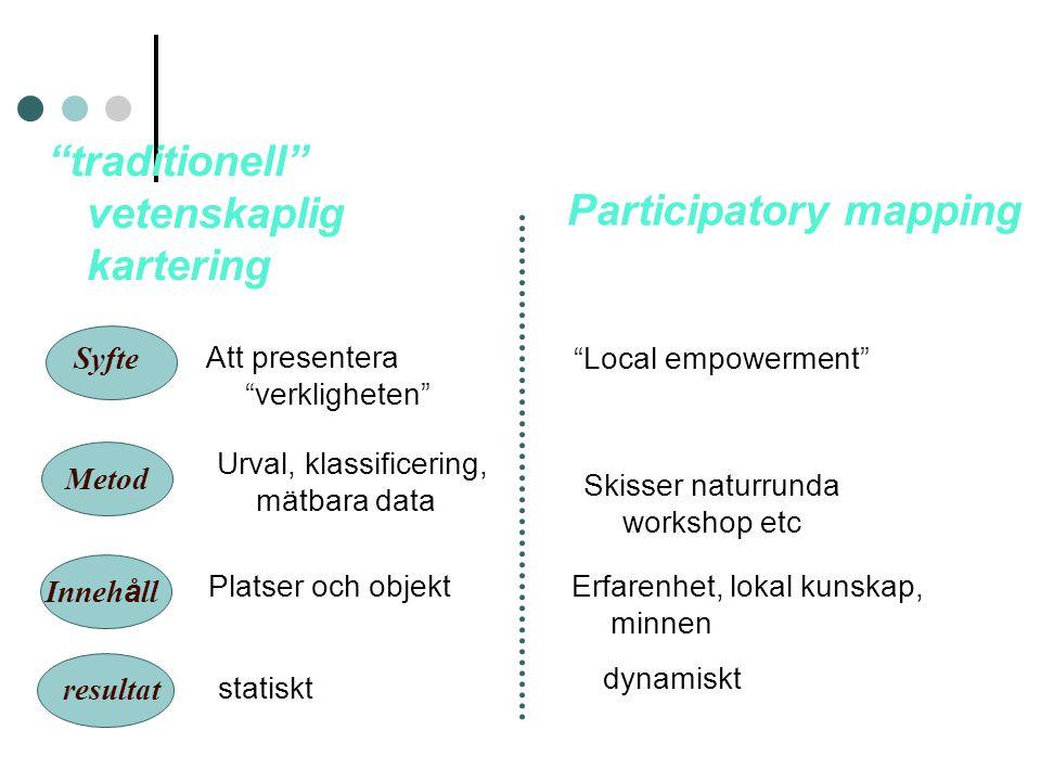 traditionell vetenskaplig kartering Participatory mapping