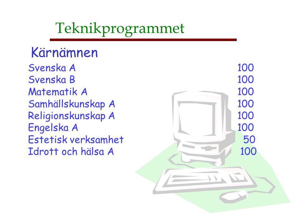 Teknikprogrammet Kärnämnen Svenska A 100 Svenska B 100 Matematik A 100