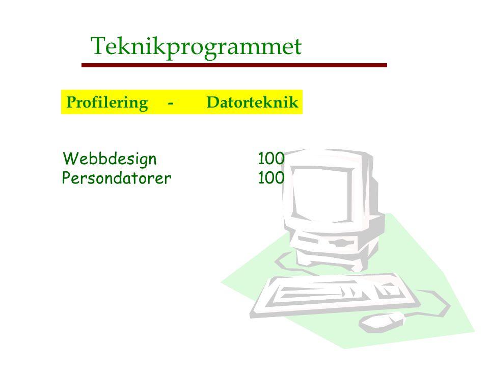 Teknikprogrammet Profilering - Datorteknik Webbdesign 100