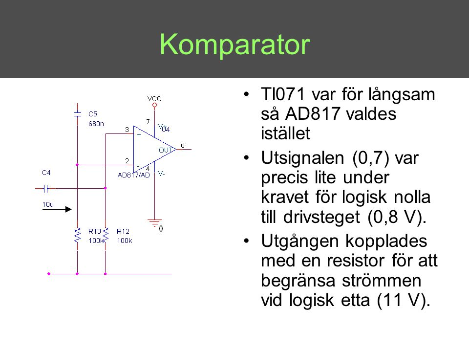 Komparator Tl071 var för långsam så AD817 valdes istället