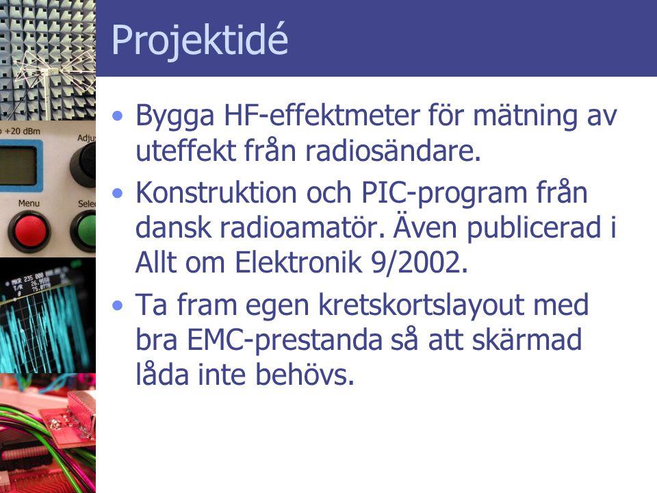 Projektidé Bygga HF-effektmeter för mätning av uteffekt från radiosändare.