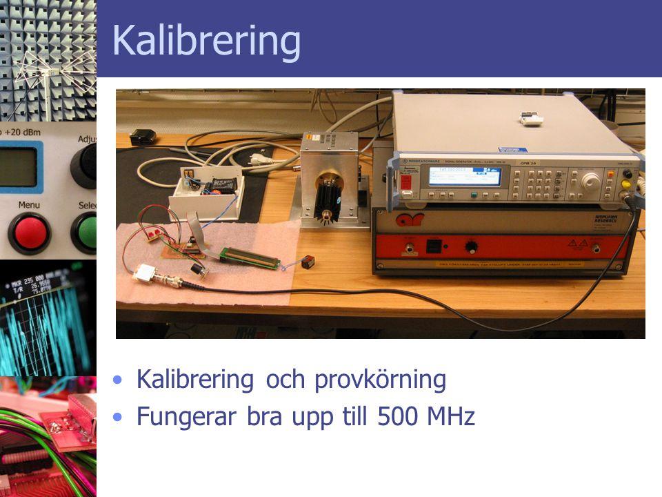 Kalibrering Kalibrering och provkörning Fungerar bra upp till 500 MHz