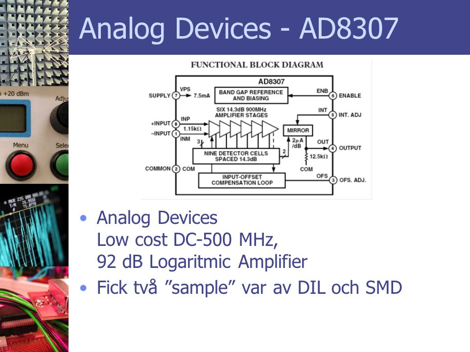 Analog Devices - AD8307 Analog Devices Low cost DC-500 MHz, 92 dB Logaritmic Amplifier.