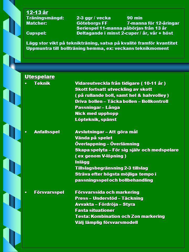 12-13 år Träningsmängd: 2-3 ggr / vecka 90 min Matcher: Göteborgs FF 7-manna för 12-åringar Seriespel 11-manna påbörjas från 13 år Cupspel: Deltagande i minst 2-cuper / år, vår + höst Lägg stor vikt på teknikträning, satsa på kvalité framför kvantitet Uppmuntra till bollträning hemma, ex: veckans teknikmoment