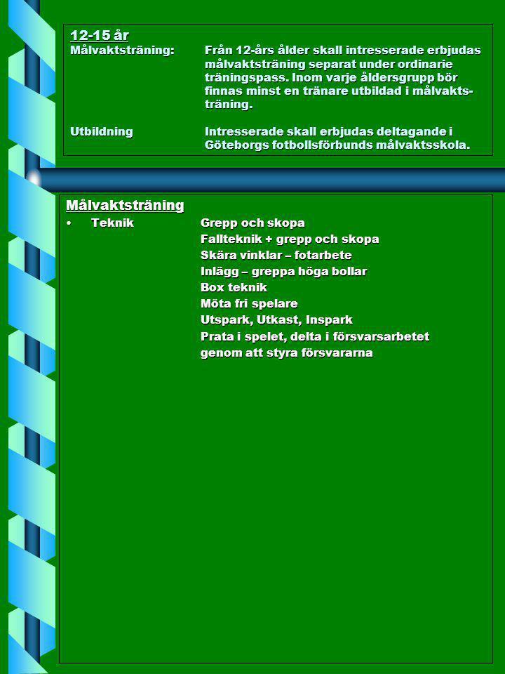 12-15 år Målvaktsträning: Från 12-års ålder skall intresserade erbjudas målvaktsträning separat under ordinarie träningspass. Inom varje åldersgrupp bör finnas minst en tränare utbildad i målvakts- träning. Utbildning Intresserade skall erbjudas deltagande i Göteborgs fotbollsförbunds målvaktsskola.