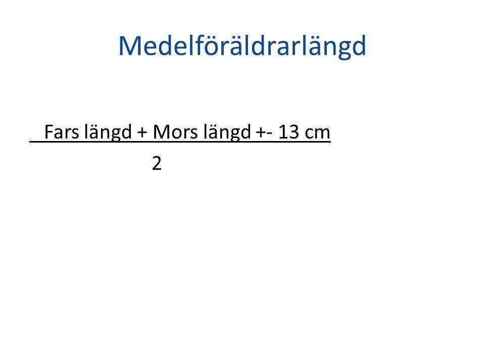 Medelföräldrarlängd Fars längd + Mors längd +- 13 cm 2