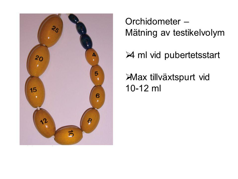 Orchidometer – Mätning av testikelvolym 4 ml vid pubertetsstart Max tillväxtspurt vid 10-12 ml