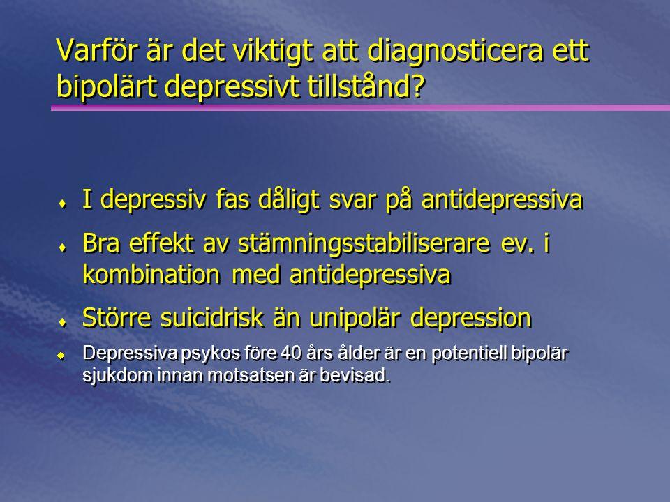 2017-04-03 Varför är det viktigt att diagnosticera ett bipolärt depressivt tillstånd I depressiv fas dåligt svar på antidepressiva.