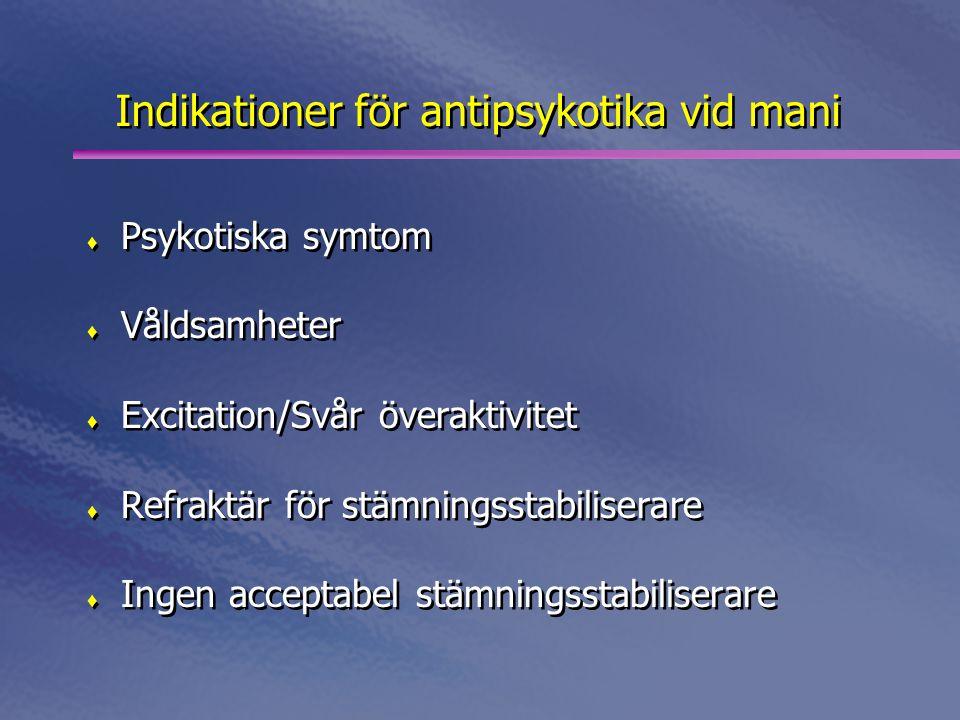 Indikationer för antipsykotika vid mani