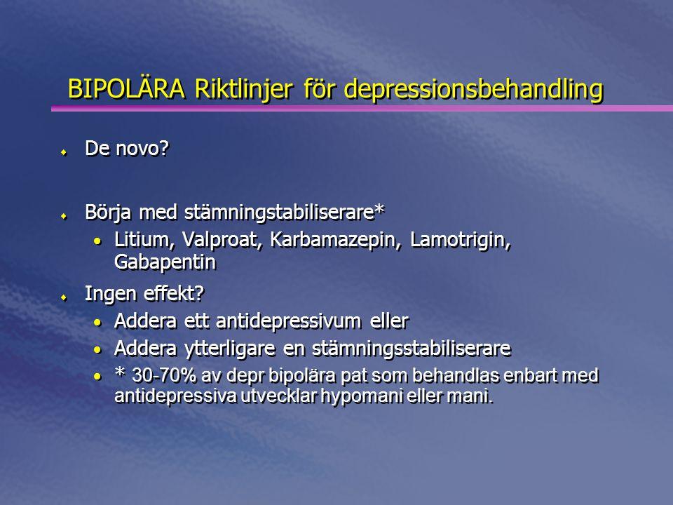 BIPOLÄRA Riktlinjer för depressionsbehandling