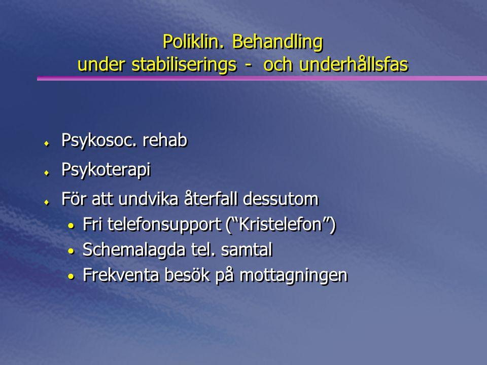 Poliklin. Behandling under stabiliserings - och underhållsfas