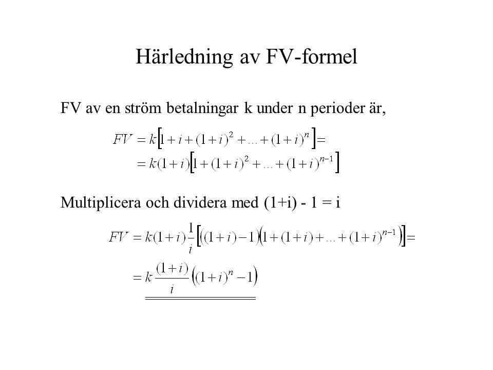 Härledning av FV-formel