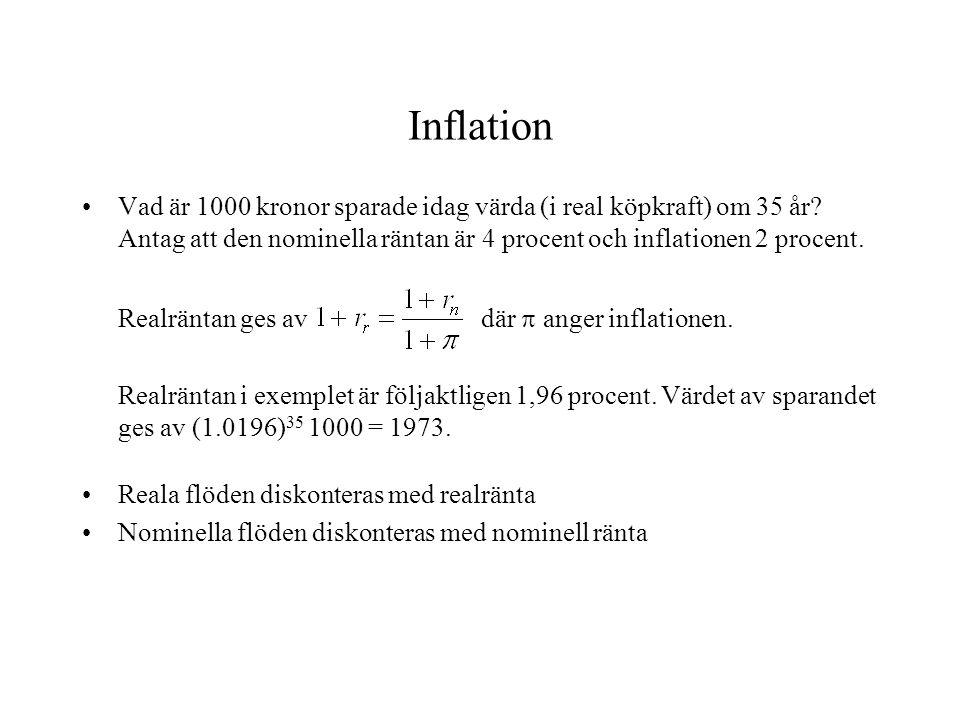 Inflation Vad är 1000 kronor sparade idag värda (i real köpkraft) om 35 år Antag att den nominella räntan är 4 procent och inflationen 2 procent.