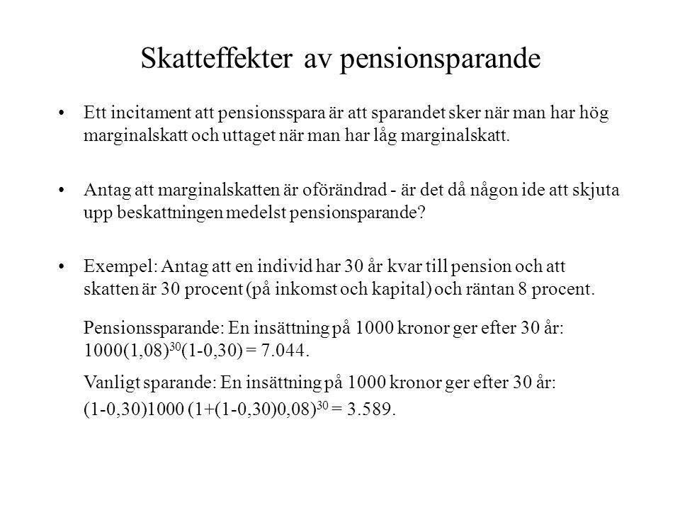 Skatteffekter av pensionsparande
