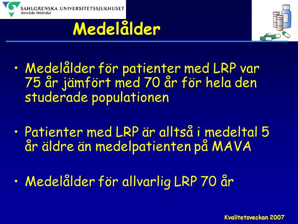 Medelålder Medelålder för patienter med LRP var 75 år jämfört med 70 år för hela den studerade populationen.