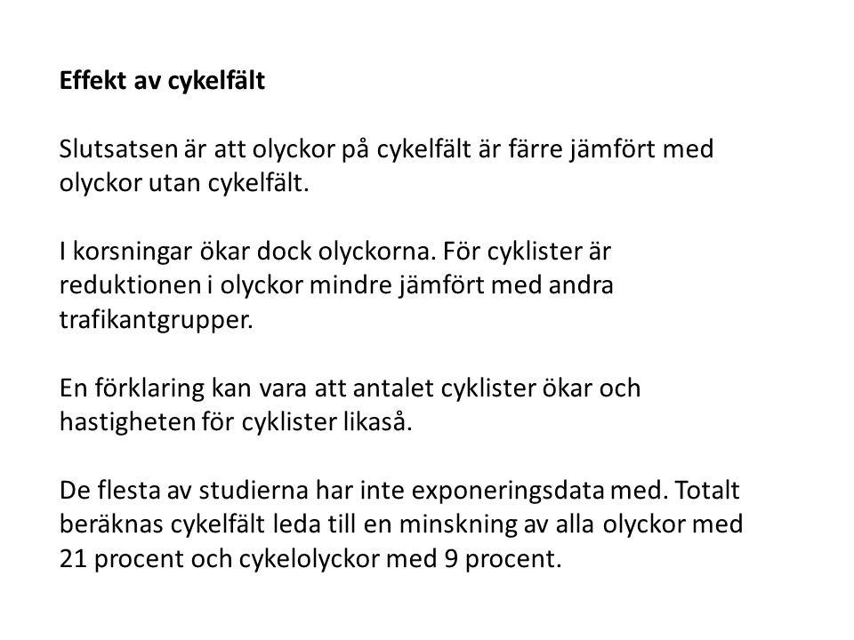 Effekt av cykelfält Slutsatsen är att olyckor på cykelfält är färre jämfört med olyckor utan cykelfält.
