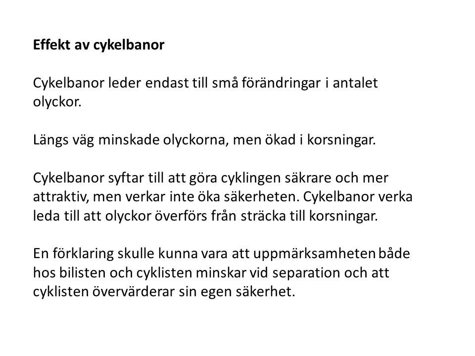 Effekt av cykelbanor Cykelbanor leder endast till små förändringar i antalet olyckor. Längs väg minskade olyckorna, men ökad i korsningar.