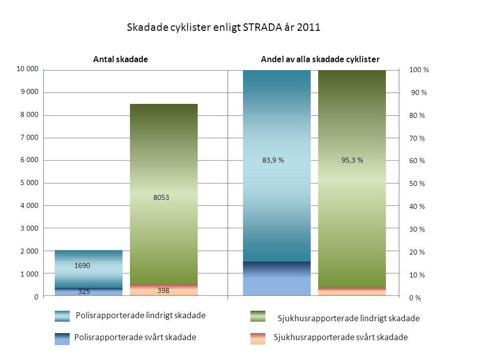 Skadade cyklister enligt STRADA år 2011