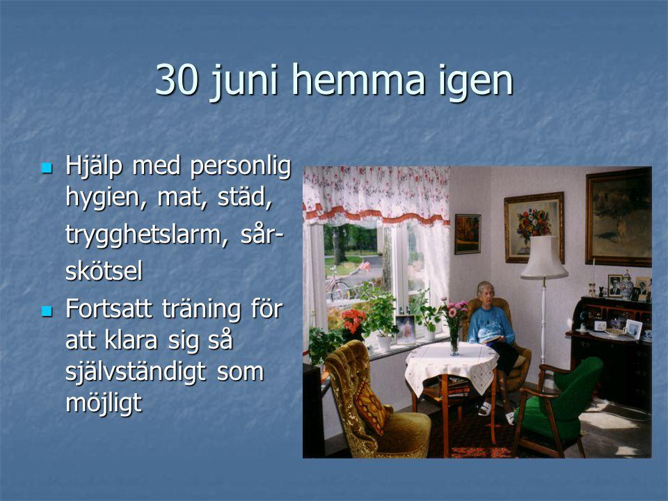 30 juni hemma igen Hjälp med personlig hygien, mat, städ,