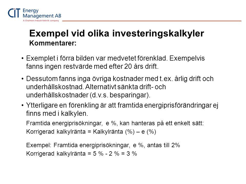 Exempel vid olika investeringskalkyler