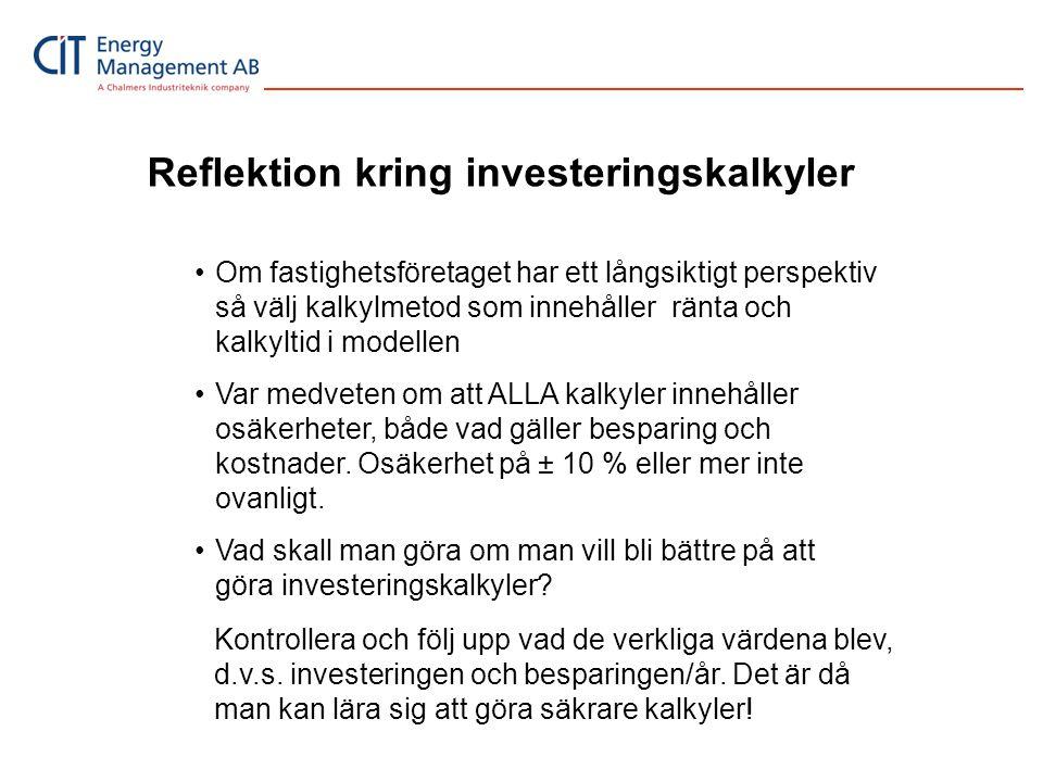 Reflektion kring investeringskalkyler