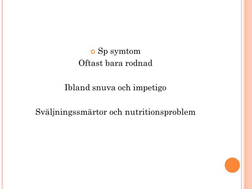 Ibland snuva och impetigo Sväljningssmärtor och nutritionsproblem