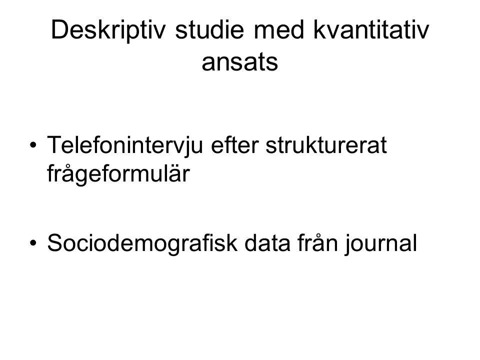 Deskriptiv studie med kvantitativ ansats