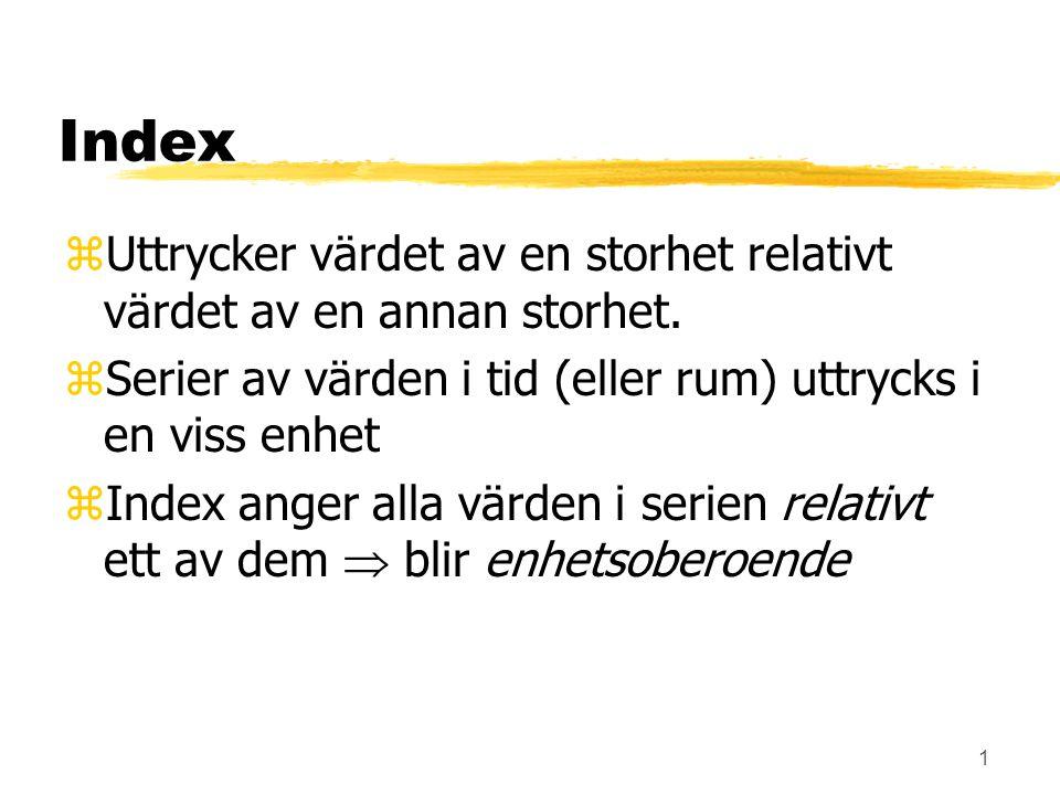 Index Uttrycker värdet av en storhet relativt värdet av en annan storhet. Serier av värden i tid (eller rum) uttrycks i en viss enhet.