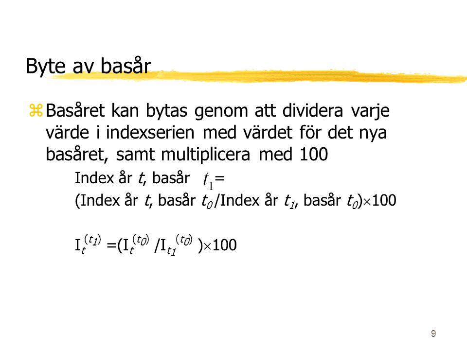 Byte av basår Basåret kan bytas genom att dividera varje värde i indexserien med värdet för det nya basåret, samt multiplicera med 100.