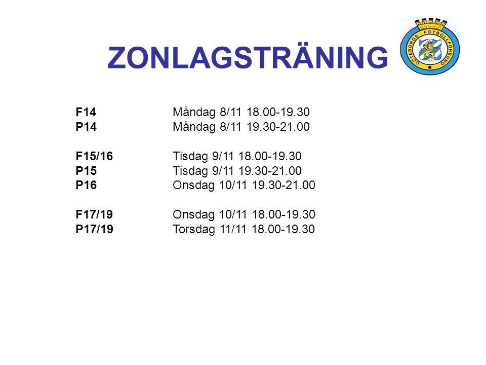 ZONLAGSTRÄNING F14 Måndag 8/11 18.00-19.30